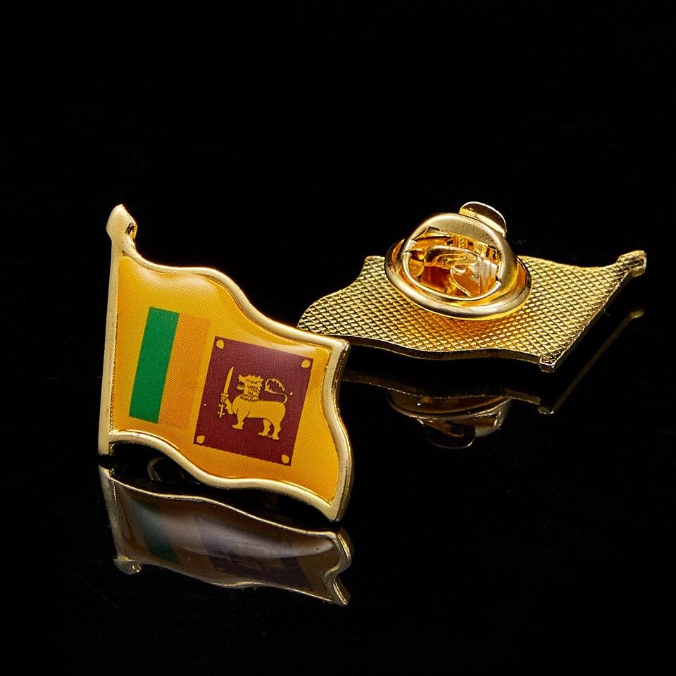آسيا سري لانكا بلد يلوح العلم الوطني مطلية بالذهب مجاملة دبوس ملابس أشكال مختلفة شارة