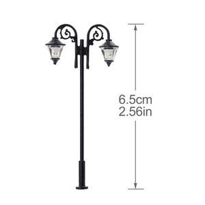 Image 2 - Luces de calle miniatura de 65mm, luces LED de poste de lámpara, miniatura, doble cabezal, blanco cálido, LYM61, 5 uds.