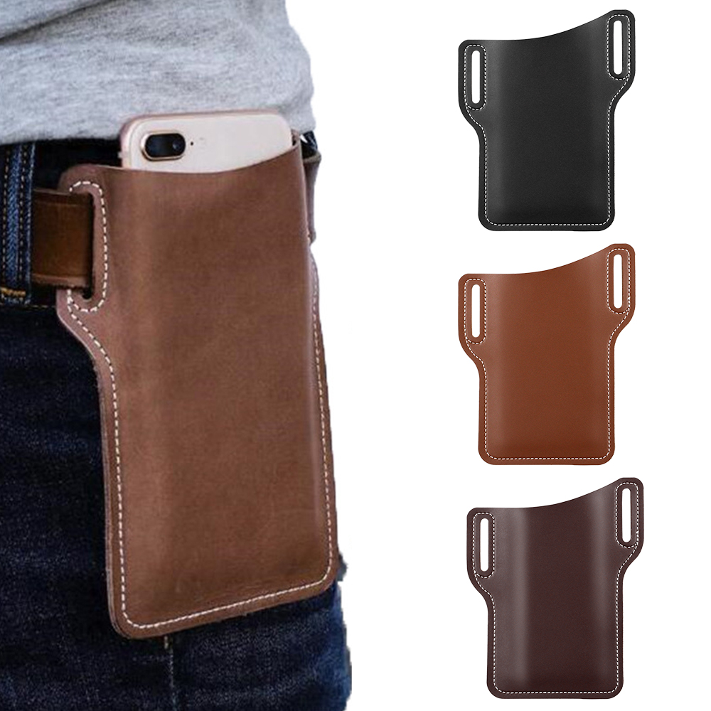 Men Cellphone Belt Loop Holster Case Waist Bag Leather Phone Wallet Vintage Belt Bag Mobile Phone Protective Sheath