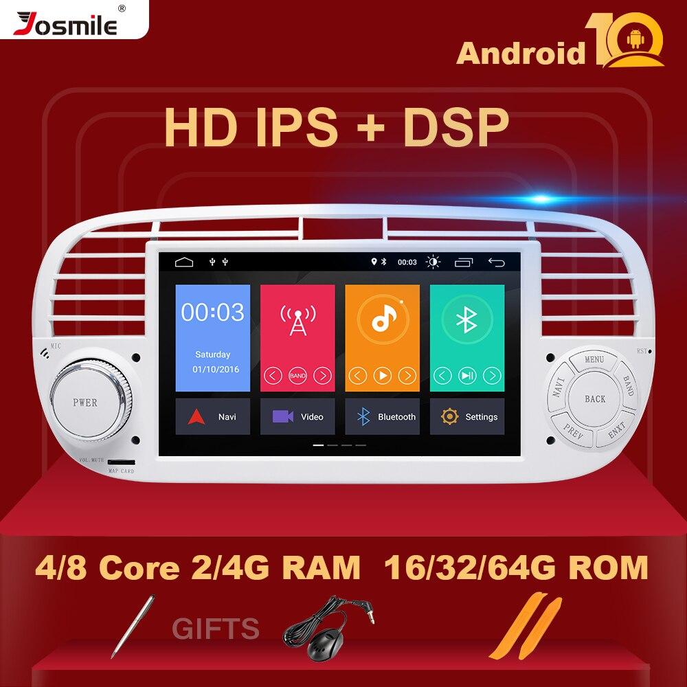 Автомобильный радиоплеер, 8 ядер IPS DSP 4 Гб 64 ГБ 1 Din Android 10,0 для FIAT 500 Мультимедиа GPS-навигация стерео аудио Carplay Wifi BT