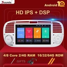 8 núcleo ips dsp 4gb 64gb 1 din android 10.0 jogador de rádio do carro para fiat 500 multimídia navegação gps estéreo áudio carplay wifi bt