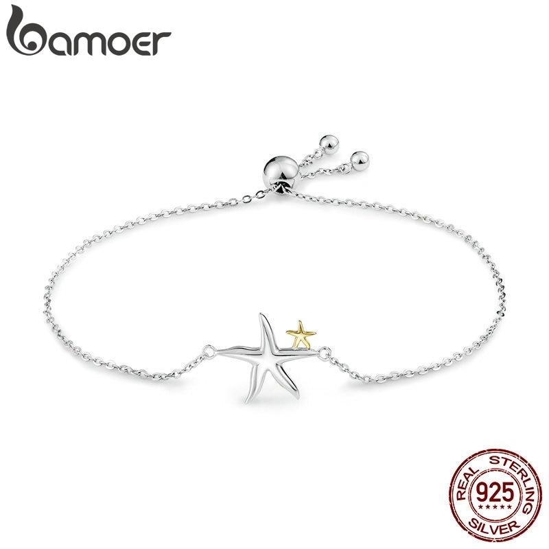 Bamoer romântico genuíno 925 prata esterlina estrela do mar conto de fadas feminino corrente link pulseira luxo prata esterlina jóias scb025