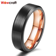 8mm Mens Womens Rose Gold Black Wedding Ring Tungsten Carbide Anniversary Engagement Bands Matte Finish Beveled Edges