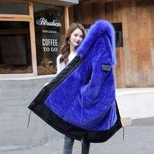 Guilantu blouson Long en coton pour femme, grande taille 6xl, Parka épais, à col en fourrure, à capuche