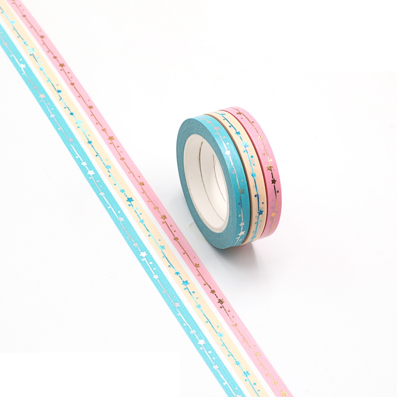 Cute 5mm Gold Foil Stars Pink Blue Yellow Washi Tapes Set For Scrapbooking Planner Masking Tape Photo Album Diy Decorative Tapes