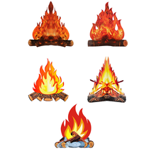 5pcs Party Fake Fire Adornments Festive Supplies 3D Coated Paper Flame Decors