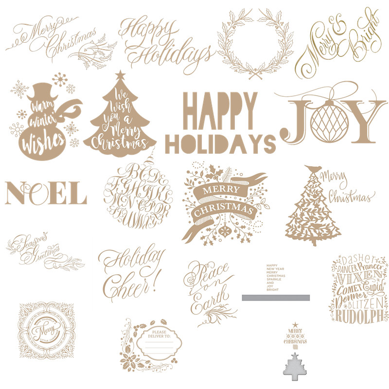 """Joy""""Happy Holidays"" Christmas Tree Metal Hot Foil Plates For DIY Scrapbooking Photo Album Gift Card Making Handcraft 2019 New"