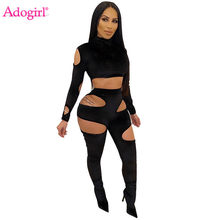 Adogirl Hollow Keluar Hitam Beludru Tebal 2020 Spring Wanita Pakaian Latihan Yg Hangat Turtleneck Lengan Panjang Crop Top Celana Pensil Club suit(China)