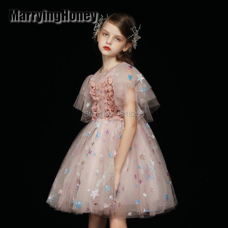 Luxury Beautiful 3d Handmade   Flowers     Girls   Pageant   Dresses   Fluffy Skirt Tulle Kids Prom Gowns Beads Ball Gown   Flower     Girls     Dress