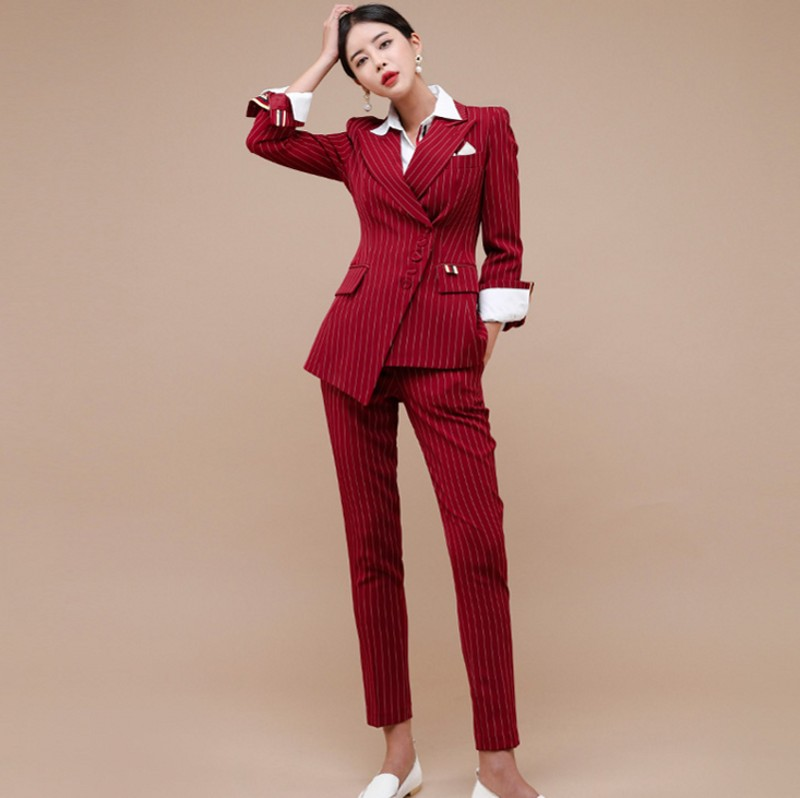 2019 NEW Work stripe Irregular Women Suits Single Breasted Slim Pant Suits Blazer Jacket and Pencil Pant Office Lady 2 Pieces se