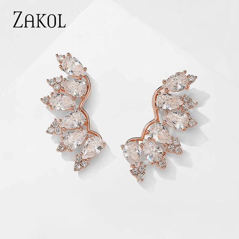 ZAKOL Brand Ethnic Green Wings Stud Earrings With Crystal Silver Color Earrings Bohemian Zircon Eaings Indian Jewelry bijoux