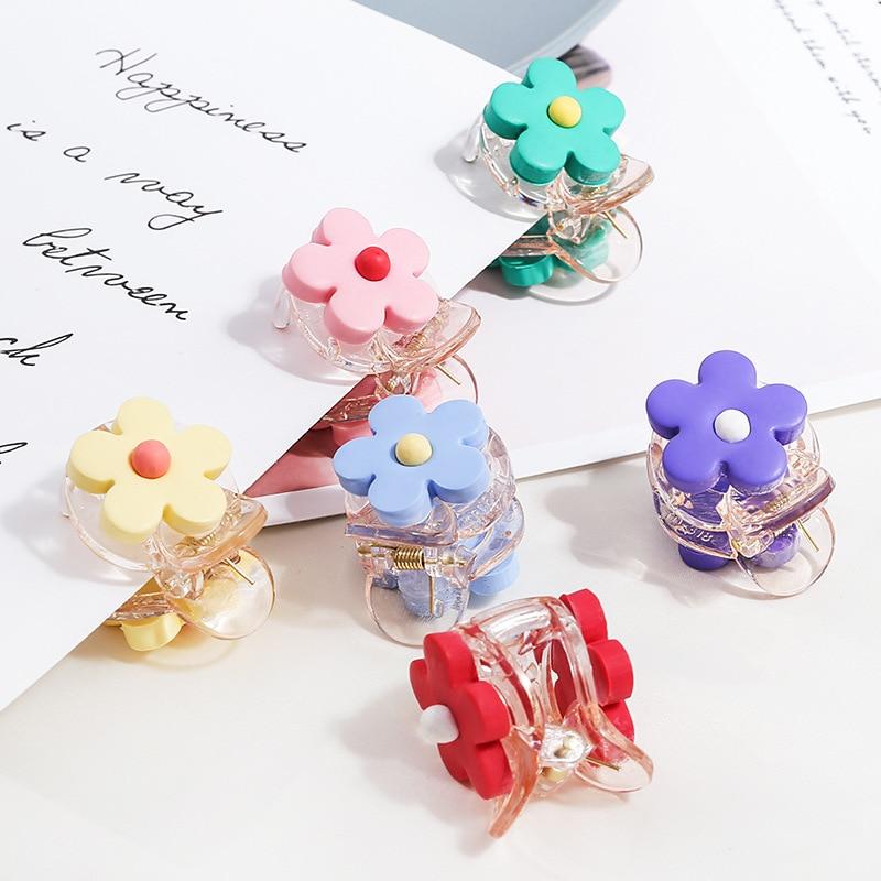 New Fashion Candy Colors Cute Mini Flower Resin Hairpins Women Girls Sweet Barrette Hair Clip Hair Accessories Headwear