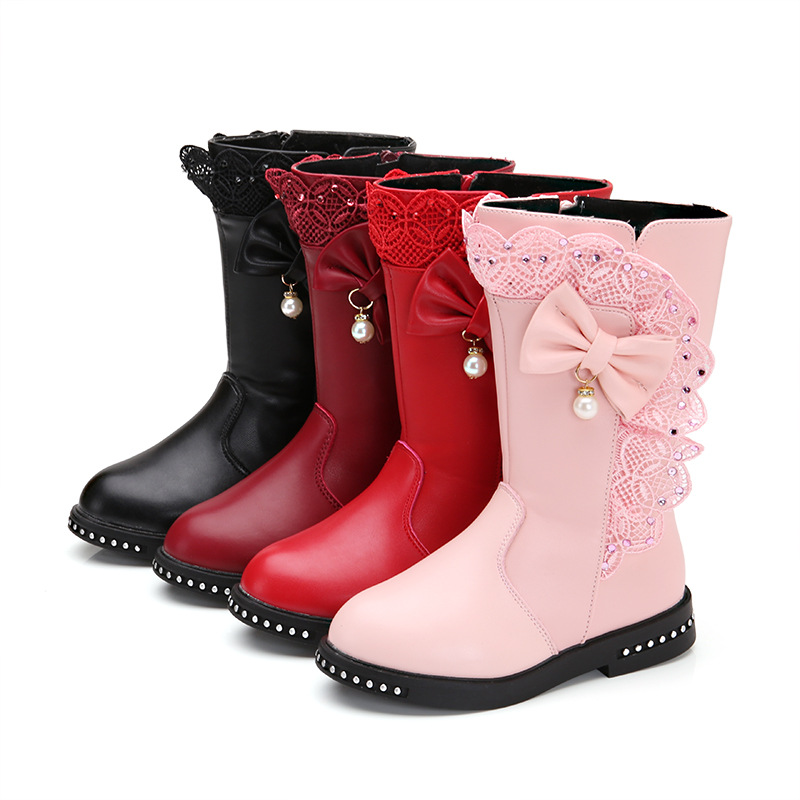 Outdoor Warm Girls Boots Autumn And Winter New High Boots Children's Single Shoes Plus Velvet Little Girl Long Boots Kids Shoes