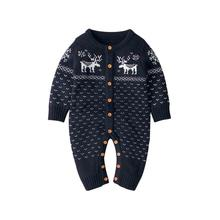 Baby Boys Rompers Winter Christmas Reindeer Knitted Jumpsuits For Newborn Girls Long Sleeve Overalls Fall Toddler Kids Playsuits red christmas reindeer knitted baby jacket for girls fall long sleeved sweaters cardigans coats newborn boys winter warm clothes