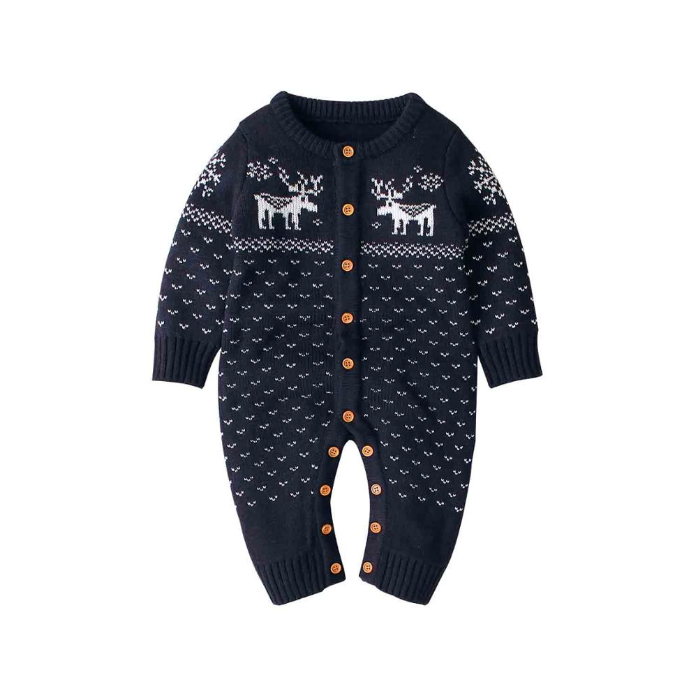 Baby Boys   Rompers   Winter Christmas Reindeer Knitted Jumpsuits For Newborn Girls Long Sleeve Overalls Fall Toddler Kids Playsuits