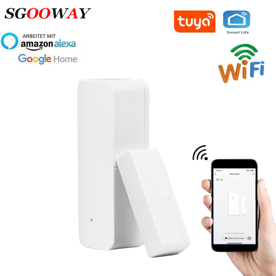 Sgooway Tuya Smart Wifi  Door Window Sensor Detector Alarm  Compatible With Smart Life IFTTT