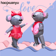 Adult Inflatable Costume Cosplay LOVE Mouse Couples for Funny Wedding Party Jumpsuit with Blower Halloween Costumes for Women(China)