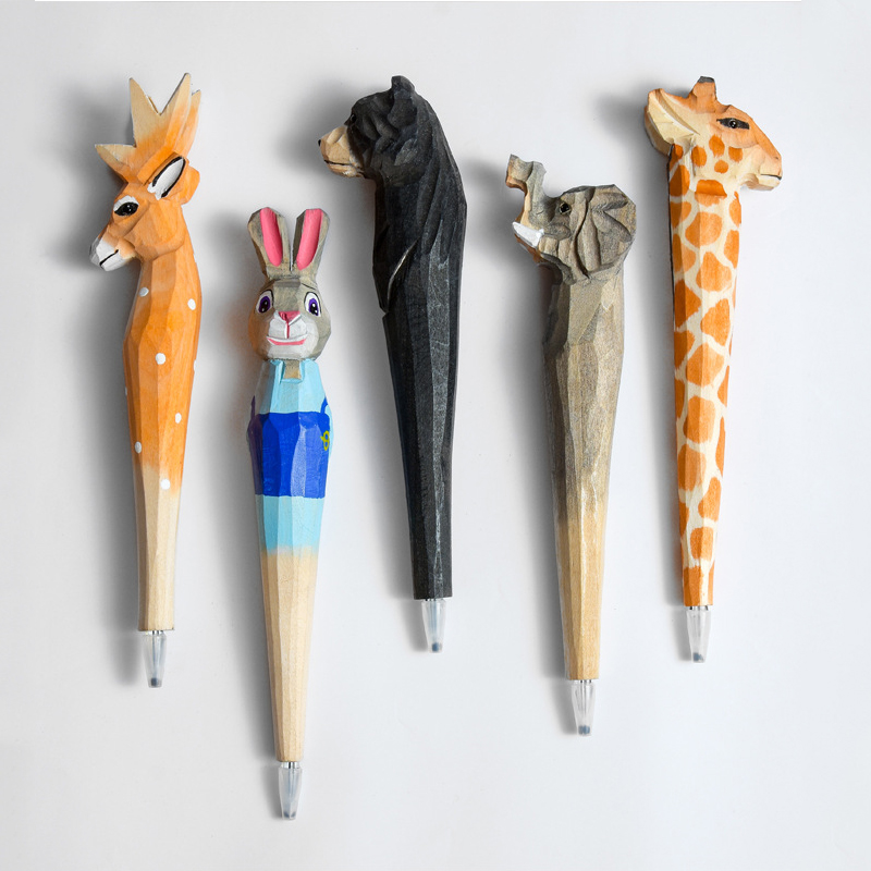 Handmade Wooden Gel Pen mm Creative Animals Cat Dog Elephant Diamond Head Wood Carving