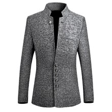 2019 Chinese Style Business Casual Stand Men Jacket 2019 Autumn New Collar Male Blazer