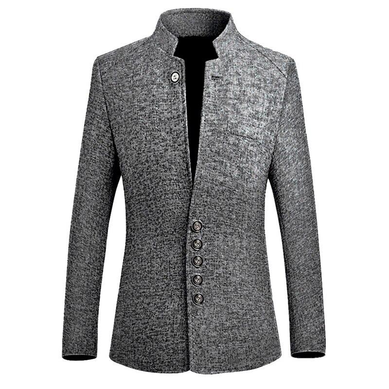 Adisputent 2020 中国風のビジネスカジュアルスタンドメンズジャケット新襟男性ブレザースリムメンズブレザージャケットプラスサイズ 5XL