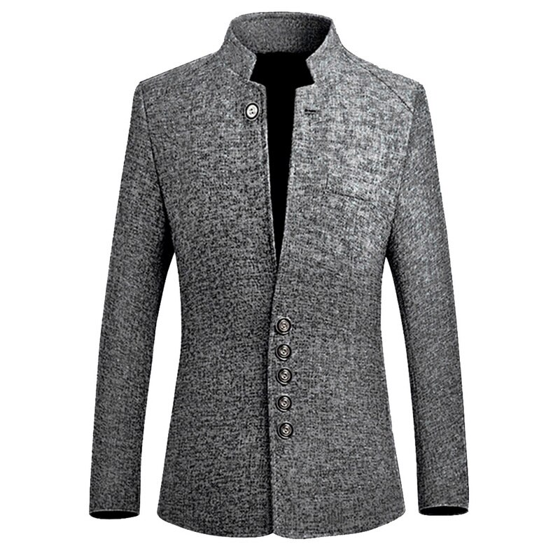Adisputent 2020 Chinese Style Business Casual Stand Men Jacket New Collar Male Blazer Slim  Mens Blazer Jacket Plus Size 5XL