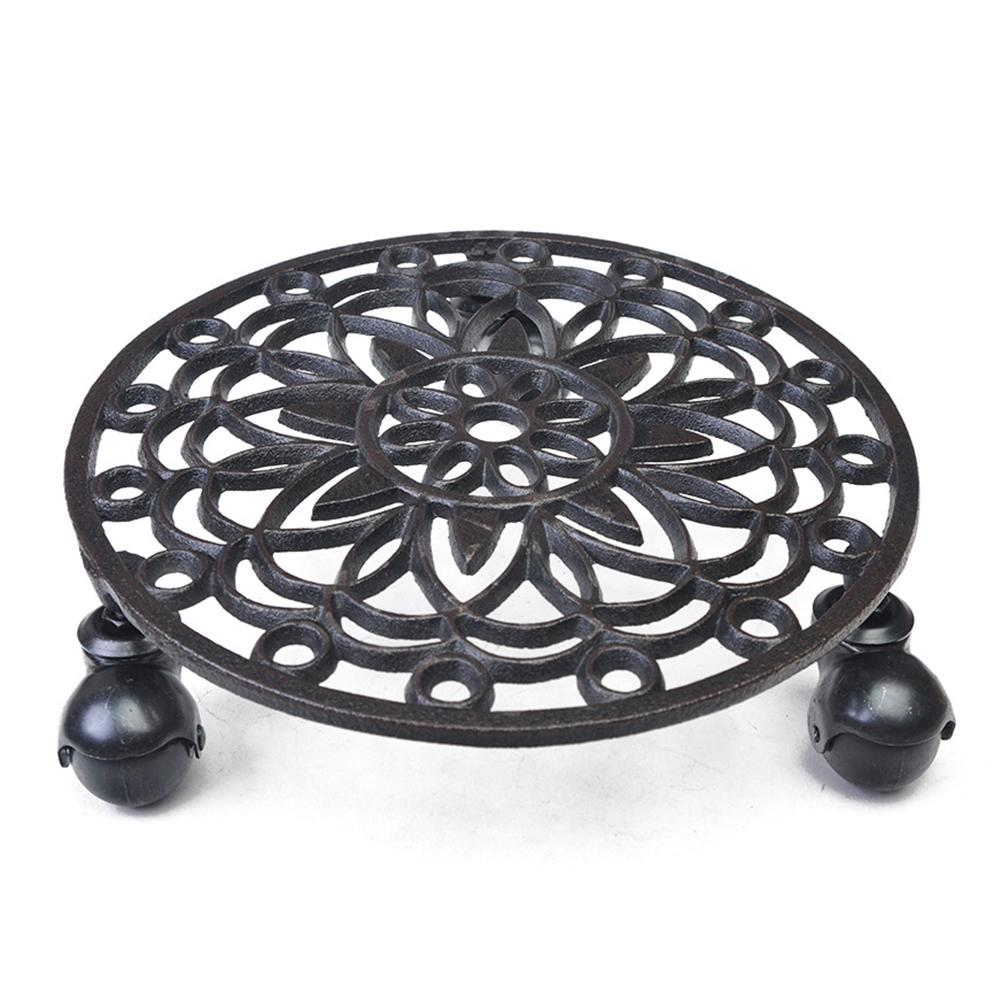 Metal Large Plant Stand Cast Iron Round Bowls Plates For Pots Trays With Gravity Bearing Base Stander Garden Home Decoration|Pot Trays| |  - title=