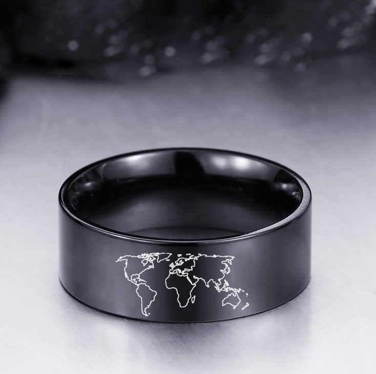 World แผนที่เงินทองสีดำสแตนเลส Punk แหวนปรับแต่ง Rock แหวนผู้ชายแผนที่ Biker อุปกรณ์เสริม Dropshipping