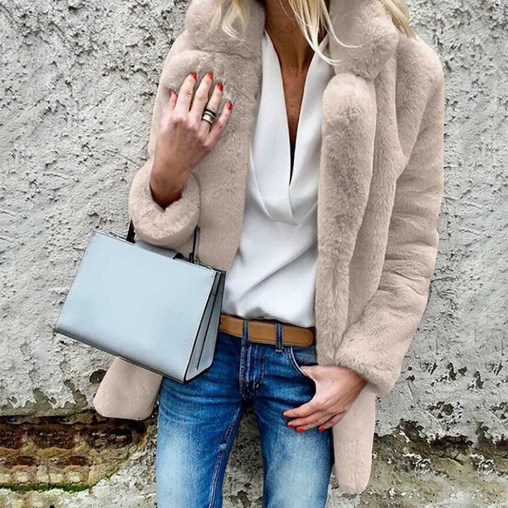 MoneRiff, женские пальто из искусственного меха, зимние, одноцветные, модные, с открытой точкой, верхняя одежда, женская, роскошная, с длинным рукавом, теплая, толстая, пушистая куртка, пальто
