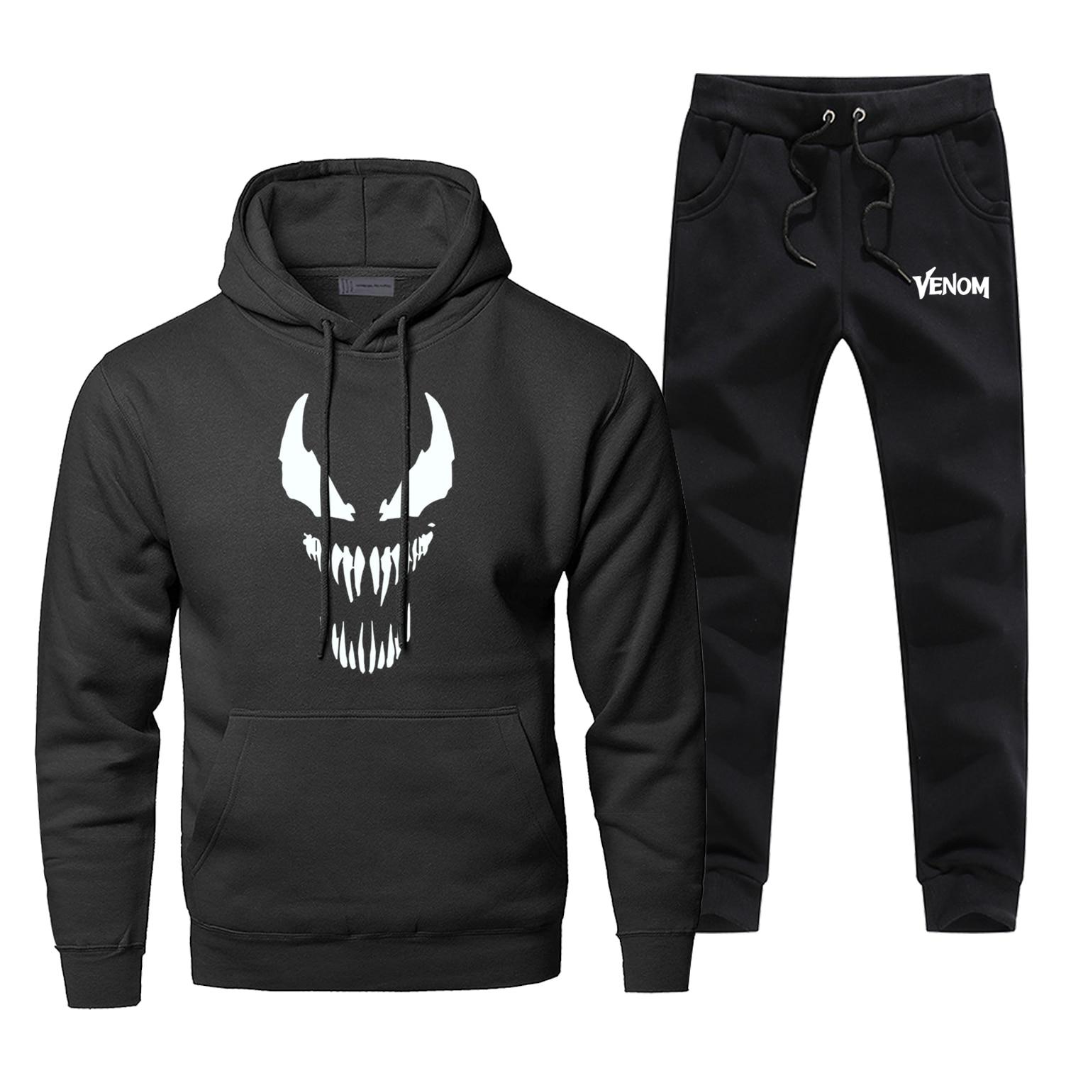 Venom Edward Hoodies Pants Sets Men Suit Tracksuit Movie Superhero Tops Pant Sweatshirt Sweatpants Sportswear Autumn Sports Set