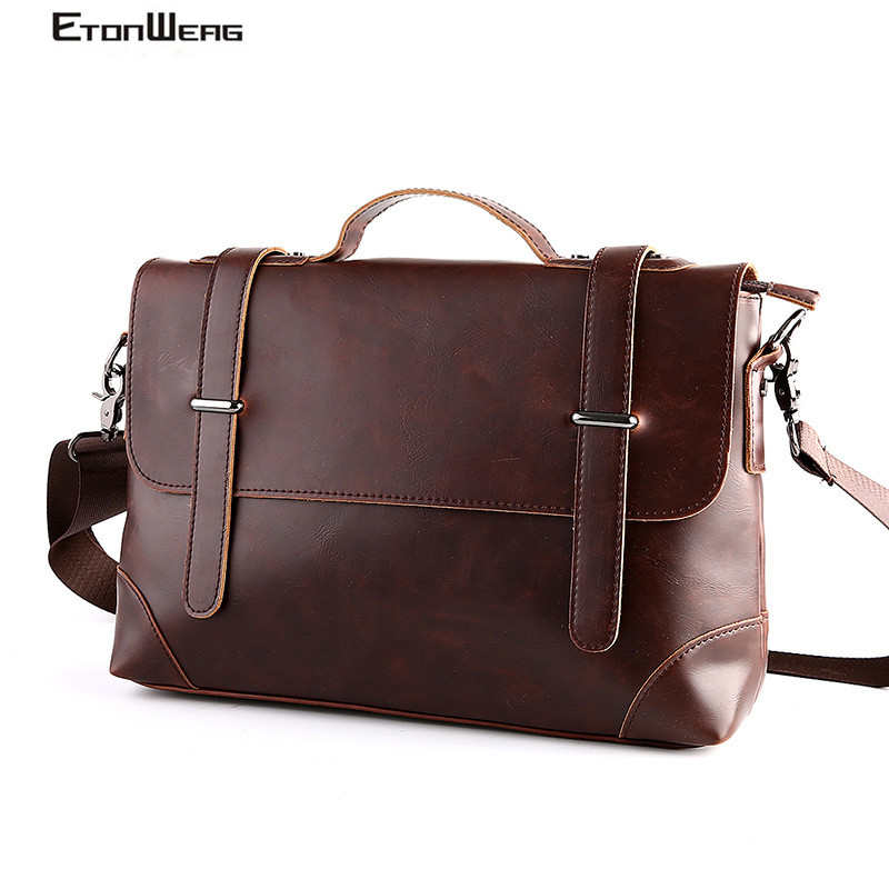Men's Business Office Briefcase Brand Leather Handbag Cover Man Messenger Bags Vintage Computer Laptop Bag Male Casual Tote 2019