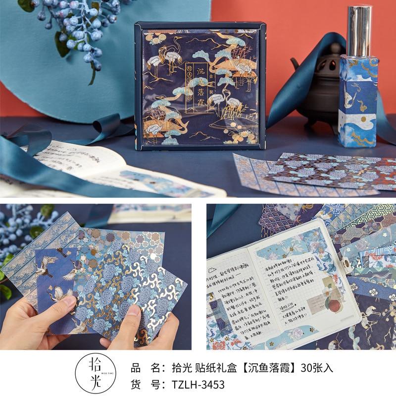 10x10cm Chinese Style Gold Foil Stickers & Memo Pad Set Crane Decoration Materials DIY Kawaii Scrapbooking Notebook Decoration