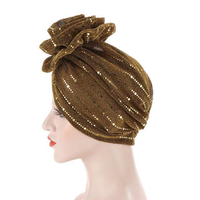 шапка бини женская с блестками модный яркий цветочный головной фотография