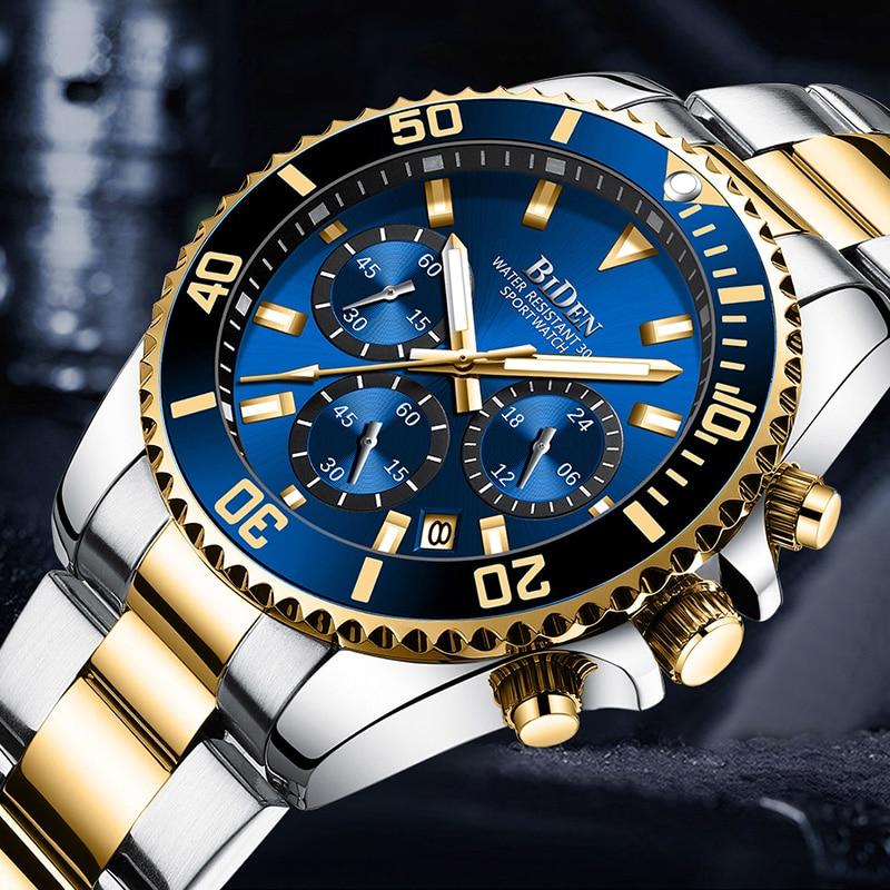 Fashion Rolexable Mens Watches Top Brand Luxury Waterproof Clock Stainless Steel Man Quartz Watch Sports Chronograph Wristwatch