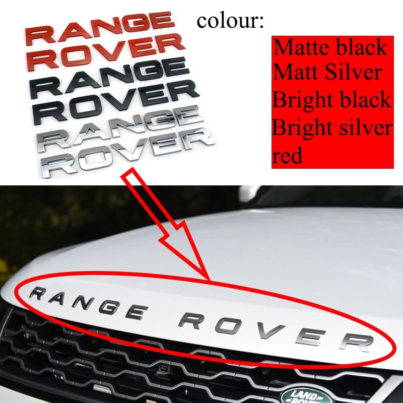 Preto brilhante fosco prata aço cinza chrome abs emblema estilo do carro capô tronco letras logotipo emblema etiqueta para land range rover|Adesivos para carro|   -