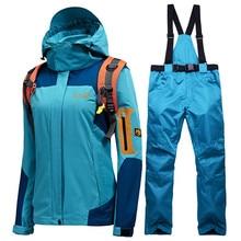 цена на 2020 Russian Winter Ski suit Women High Quality Ski Jacket And Pants Snow Warm Waterproof Windproof Skiing And Snowboarding Sets