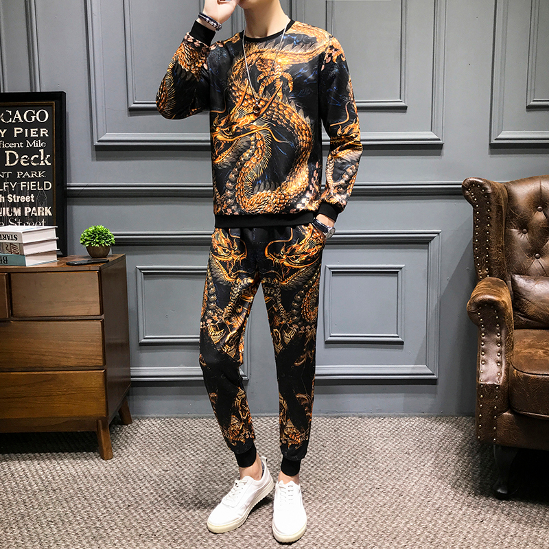 Casual 2 Piece Sets Unisex Street Hip Hop Pullover Tracksuit +Jogger Pants Suits Chinese Style  Dragon Print Men's Sets