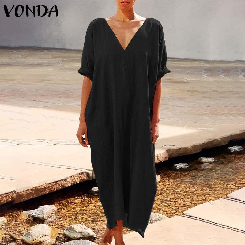 VONDA 2020 Summer Maxi Long Dress  Women Vintage V Neck 3/4 Sleeve Party Dress Plus Size Bohemian Beach Sundress Casual Robe 5XL