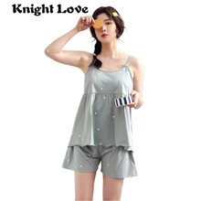 Summer Lounge Pajama Sets for Women Sexy Sleepwear Lingerie Sleeveless Spaghetti Strap Pyjamas Femme Top + Shorts Nightwear