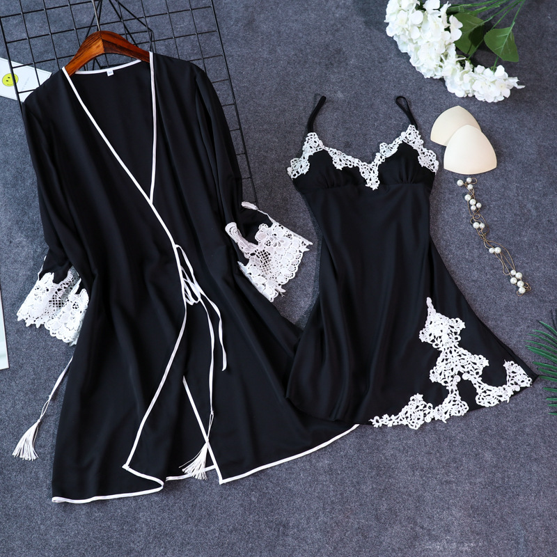 New Arrival Women's Sexy Lace Satin Robe & Gown Sets Free Shipping Female Luxury Fashion Nightwear Set Pyjamas Set Hot