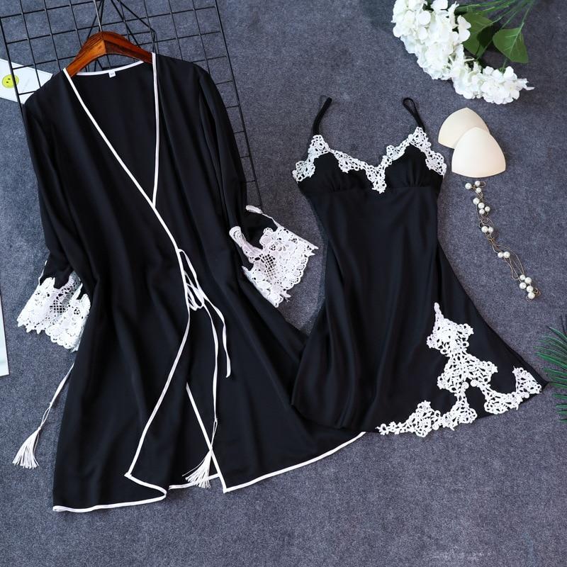 New Arrival Women's Sexy Lace Satin Robe & Gown Sets Free Shipping Female Luxury Fashion Nightwear Set Pyjamas Set Hot