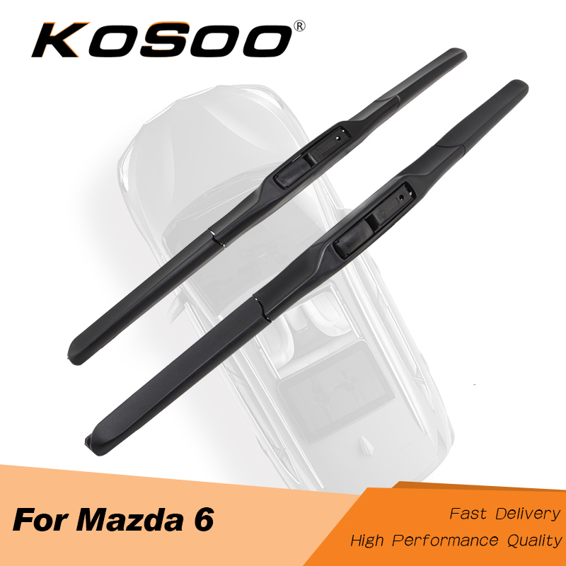 KOSOO Auto Wiper Blade For <font><b>Mazda</b></font> <font><b>6</b></font> <font><b>Wagon</b></font>/Sedan(GG1 GH1 GJ1/GL) Hatchback(GG1 GH1) Model Year From 2002 To 2016 Fit J Hook Arm image