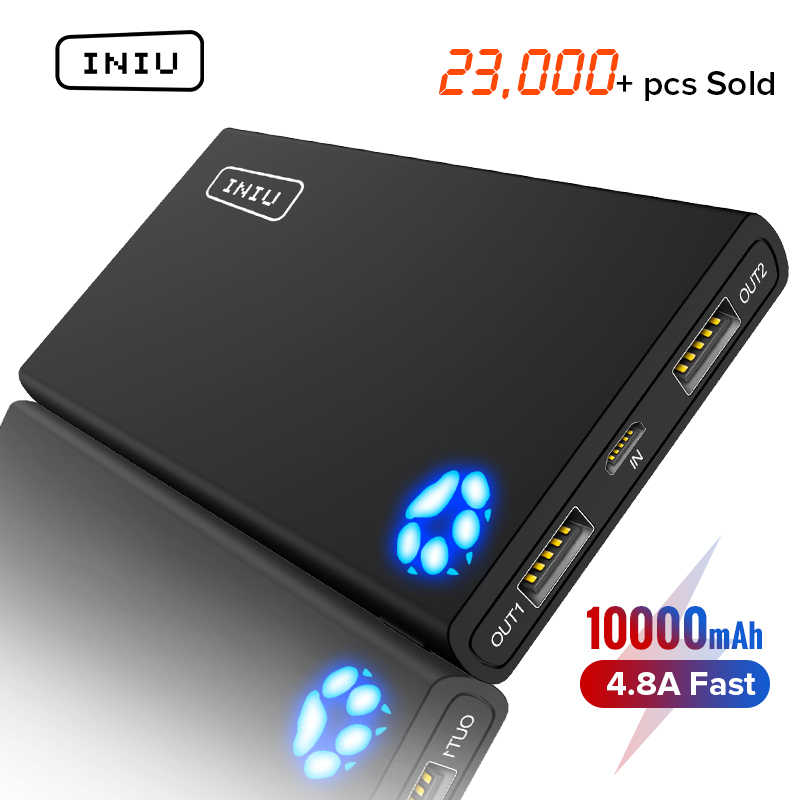 Iniu 10000 MAh 4.8A Power Bank Dual 2 Usb Portable Charger Powerbank For iPhone X Xiao Mi Mi Poverbank Poverbank kemasan Baterai Eksternal