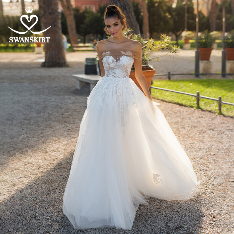 Off Shoulder Beaded Wedding Dress 2019 Swanskirt Boat Neck Appliques A-Line Illusion Bride Gown Princess Robe De Mariee NY21
