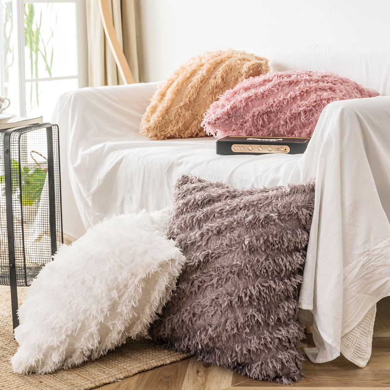 50x50cm Cushion Cover Square Pillow Case White Pink Grey White Pillow Cover Home Decoration Soft Feather Tassels Plush