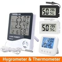 Lcd Elektronische Digitale Thermometer Hygrometer Draagbare Mini Indoor Outdoor Temperatuur Vochtigheid Meter Weerstation Klok