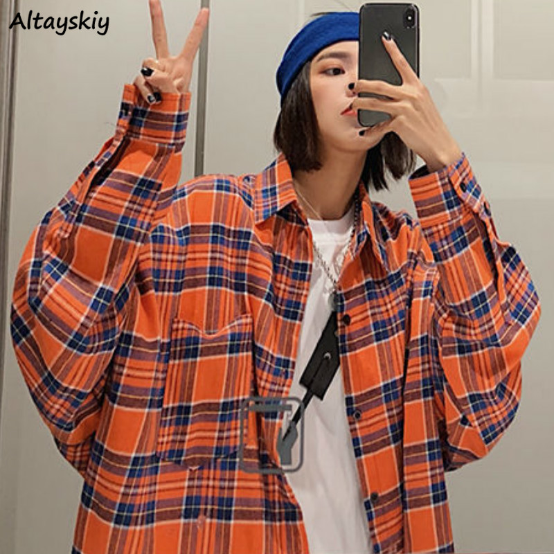 Shirts Women Plaid Oversize BF Wild Korean Style Student Spring Womens Long Sleeve Coat Chic Tops Trendy Cool All-match Retro