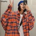 Shirts Frauen Plaid Oversize BF Wilden Koreanischen Stil Student Frühling Frauen Langarm Mantel Chic Tops Trendy Coole Alle- spiel Retro