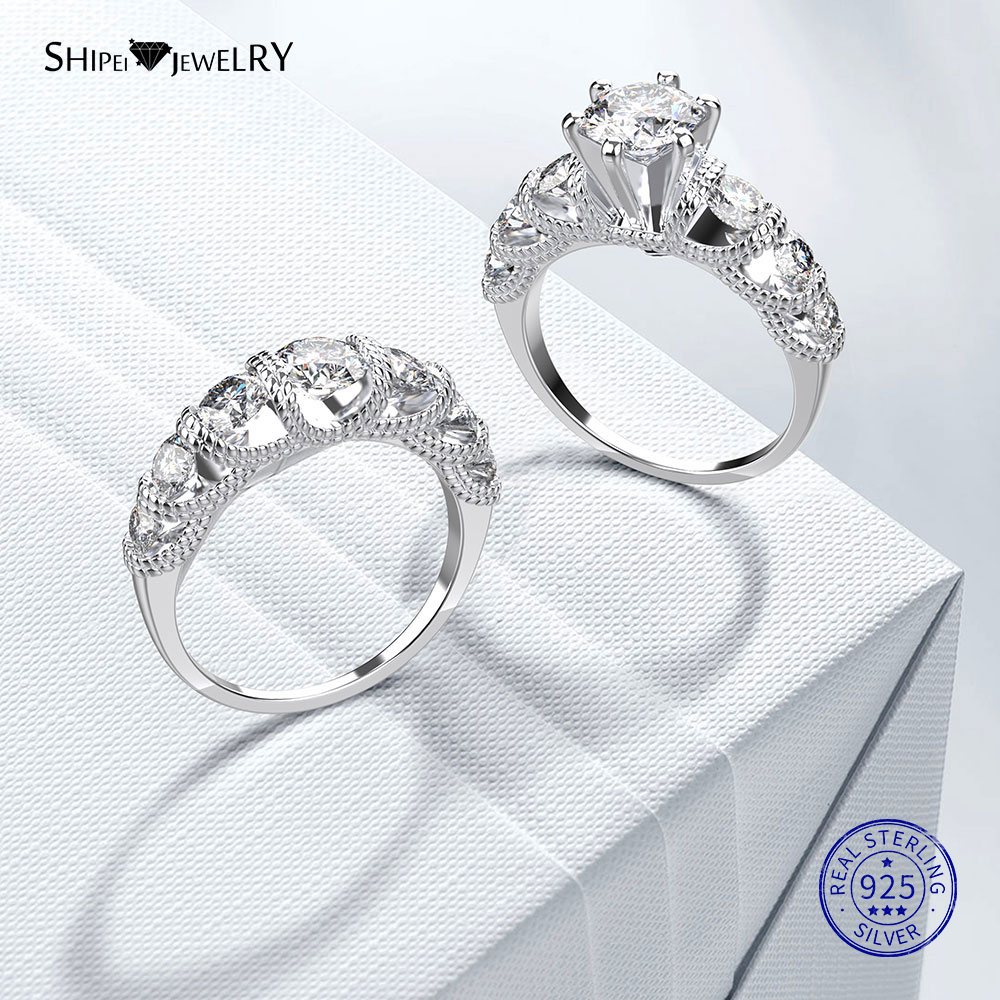 Shipei 1ct Moissanite Rings Set For Women Couples Finegers Jewelry 925 Sterling Silver Wedding Engagement Moissanite Ring Set