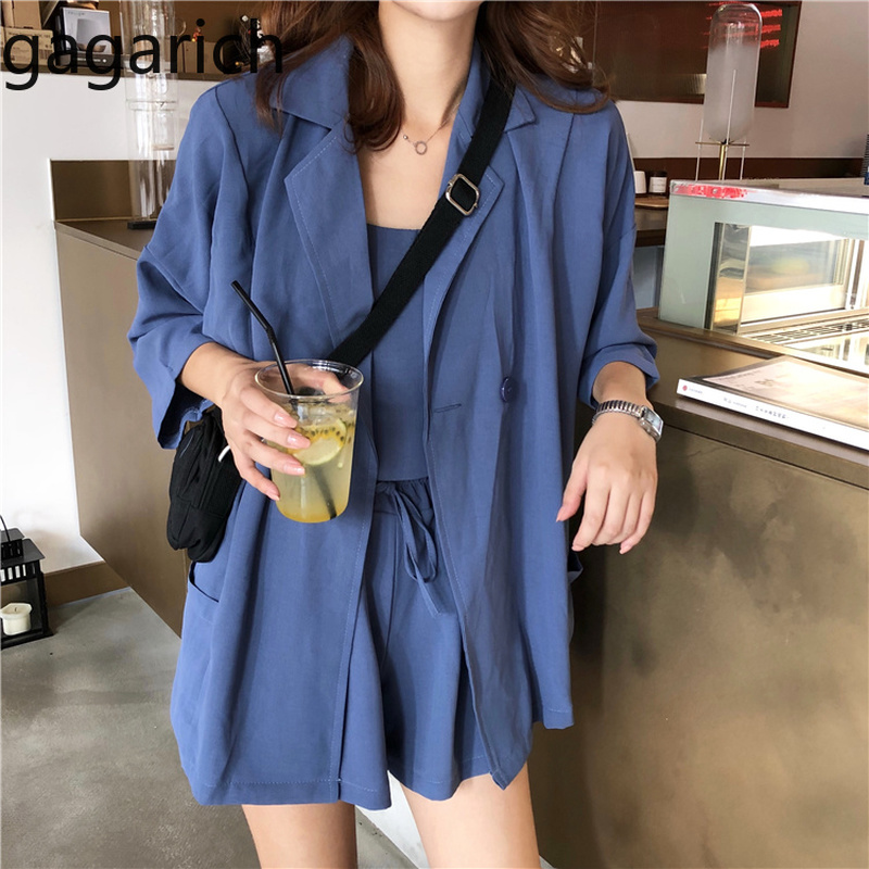 Gagarich 2019 Suit Women Spring Korean Version New Solid Color Sling Loose Suit High Waist Shorts Three Piece Set Fashion Wear