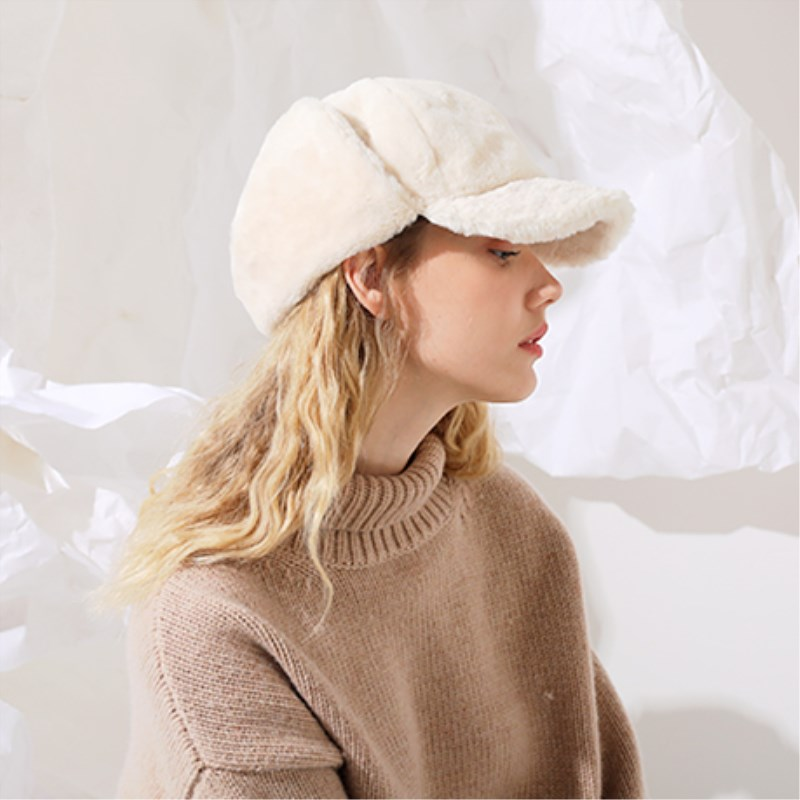 EOEODOIT Women Cold Winter Bomber Hats Warm Rex Fur Warm Ear Protector Caps Visor Hat For Girls